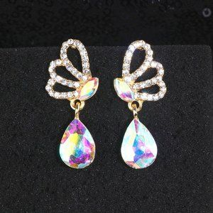 Prom Pageant Bridal Jewelry - AB Crystal Bridal Prom Pageant Drop Earrings